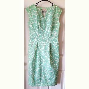 Merona Turquoise & White Sheath Dress w/Pockets!